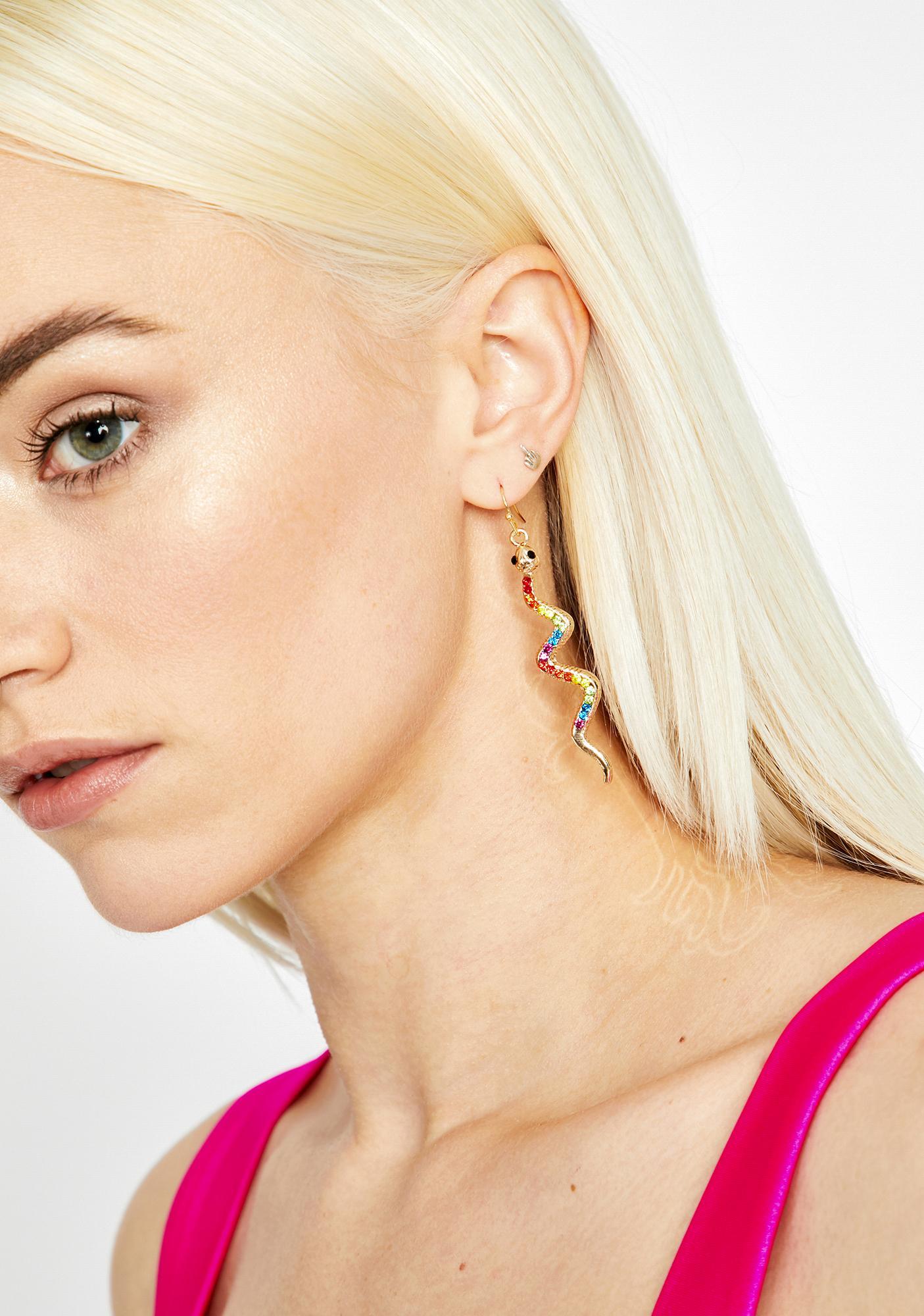Glowin' Toxic Rainbow Snake Earrings
