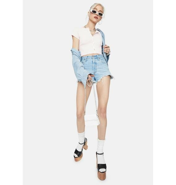 Petal Taking It Easy Button Up Crop Top