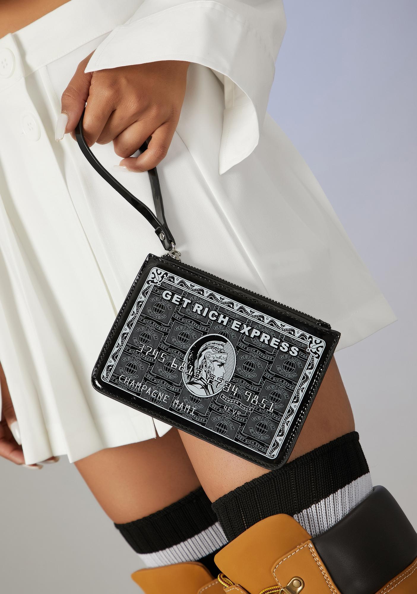 Poster Grl Swiping Black Card Clutch