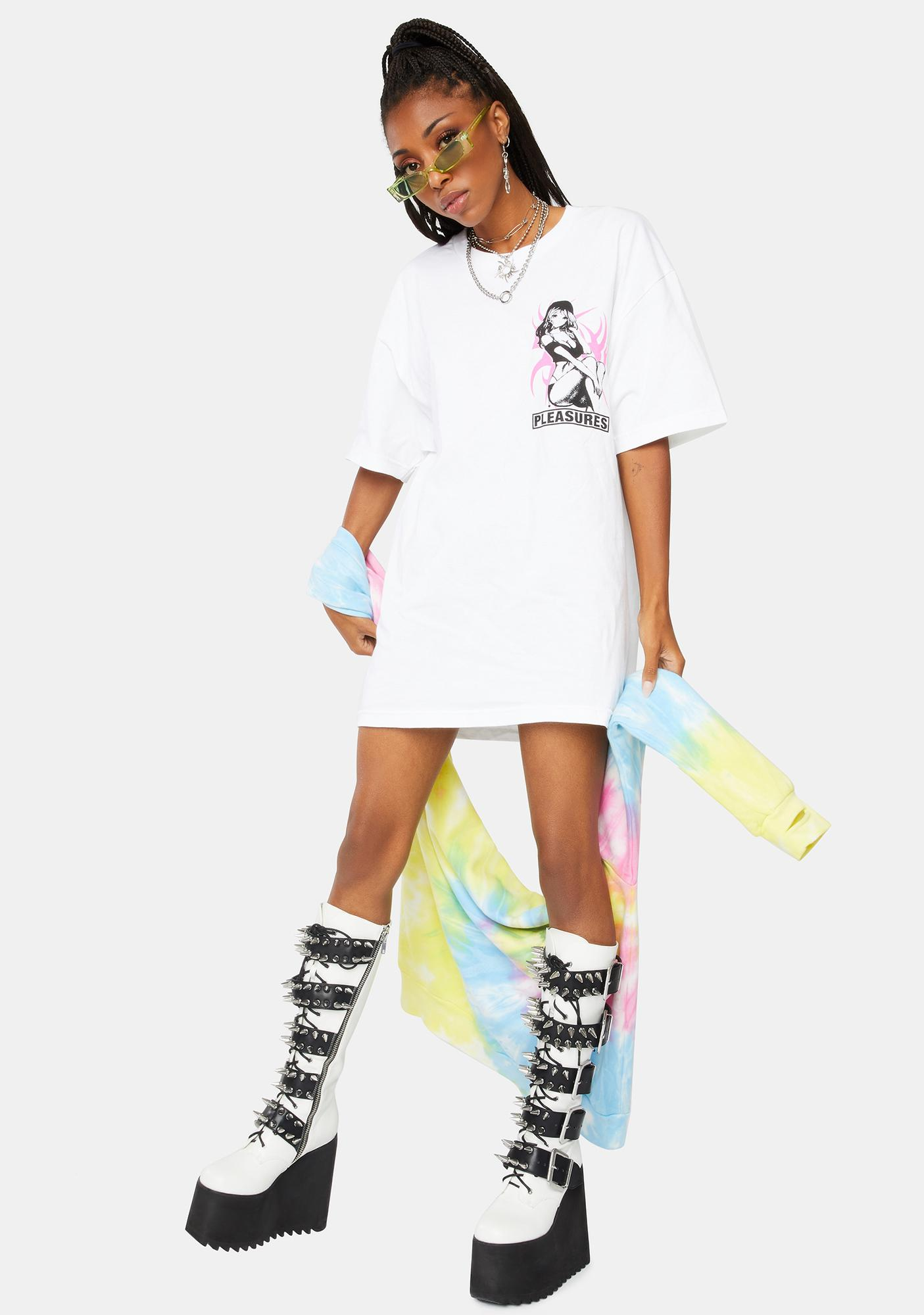 Pleasures White Bossy Graphic Tee