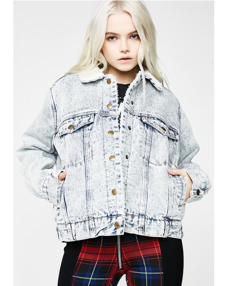 Oversized Cali Denim Sherpa Jacket