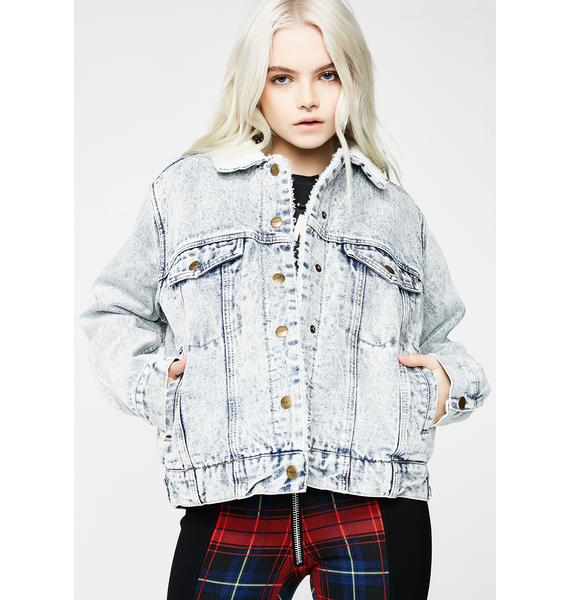 Insight Oversized Cali Denim Sherpa Jacket