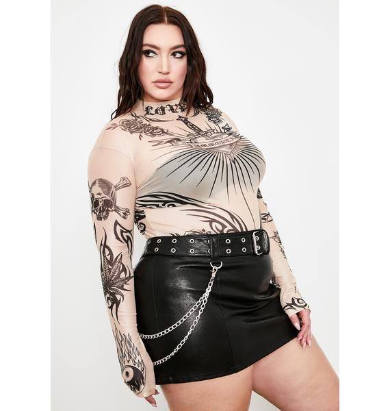 Current Mood She Lives For Sin Mesh Top