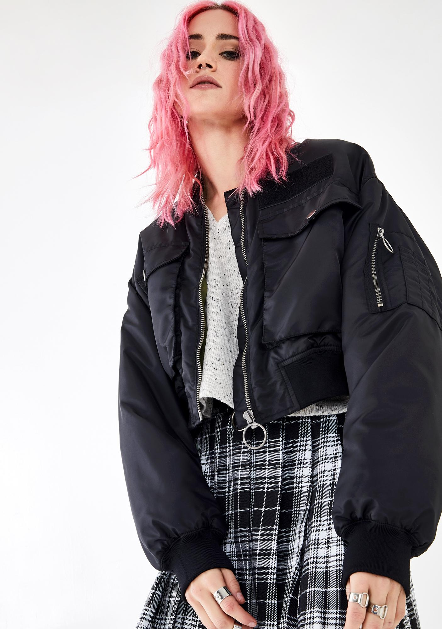 Current Mood Think Fast Cropped Bomber
