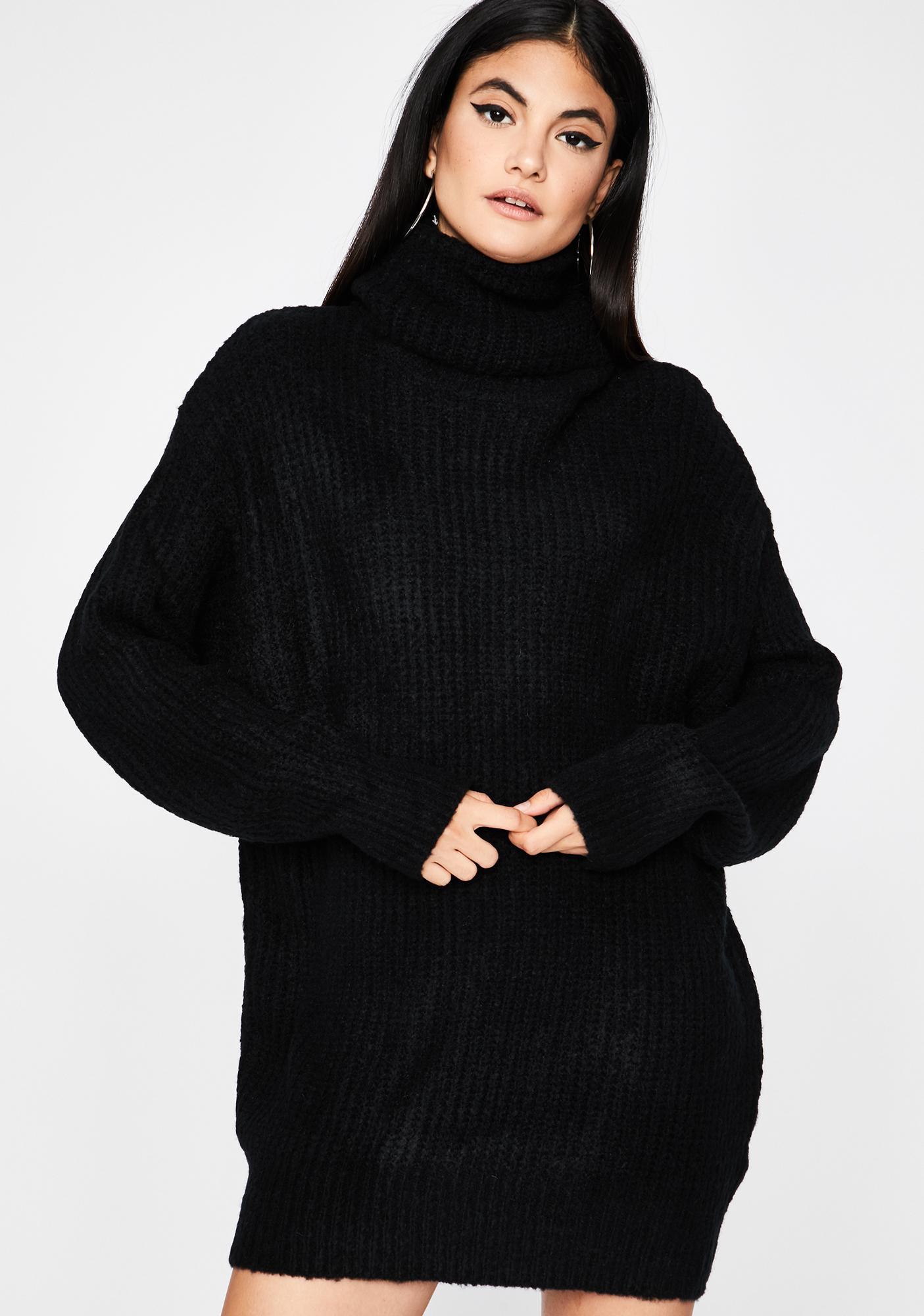 Black Oversized Chunky Knit Sweater Dress Dolls Kill