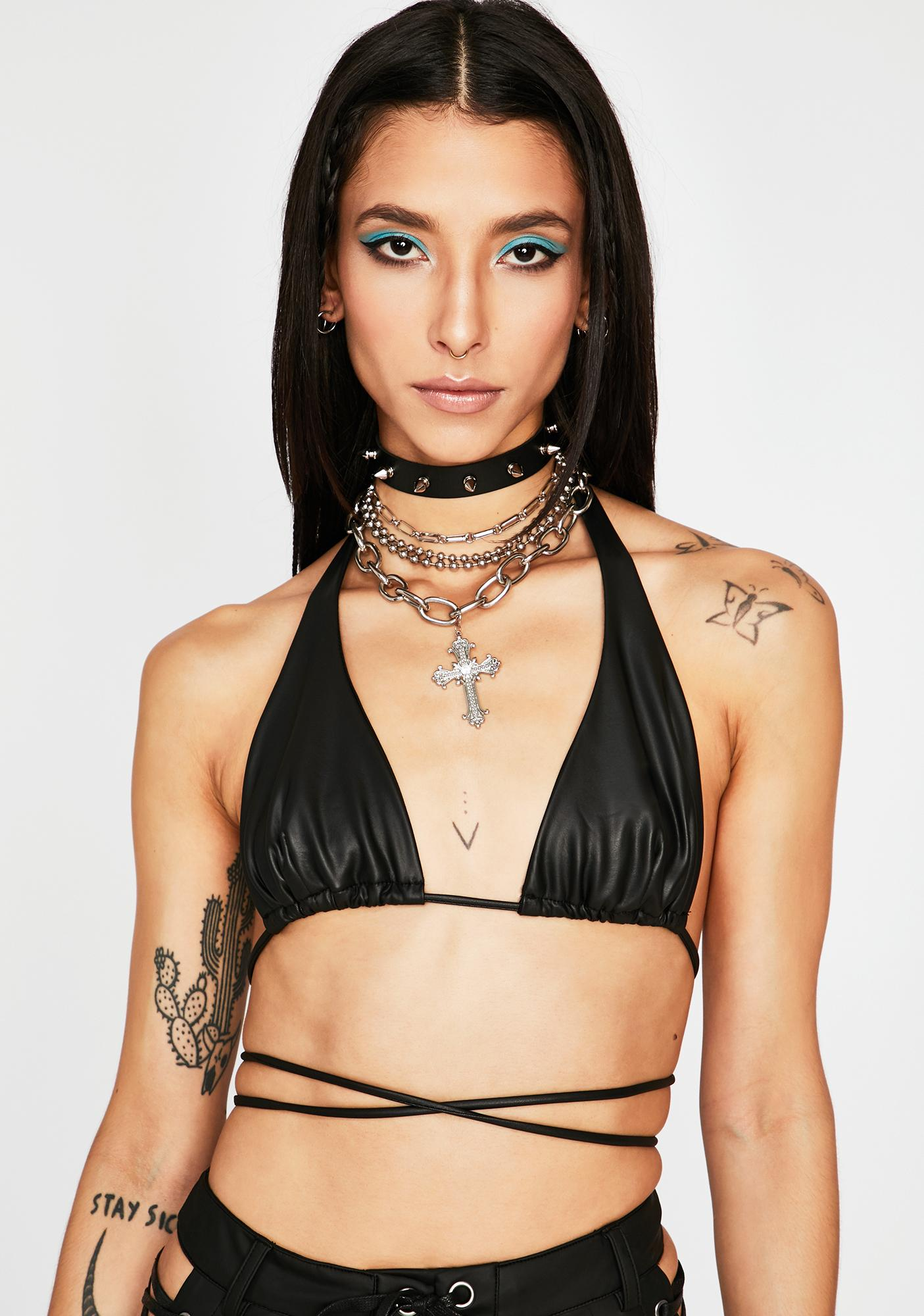 Night Wild For Life Faux Leather Top