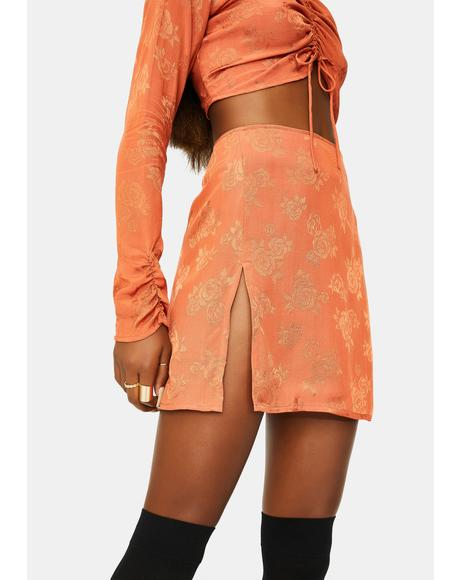 Satin Rose Copper Shenka Mini Skirt