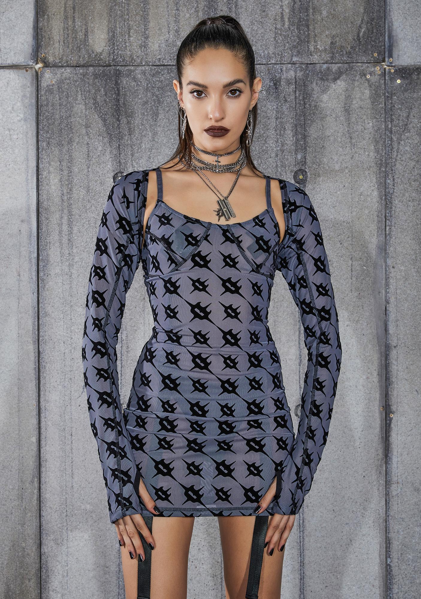 DARKER WAVS Snare Monogram Print Mesh Dress And Shrug Set