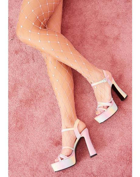 Cupid Baby Pink Fishnet Stockings
