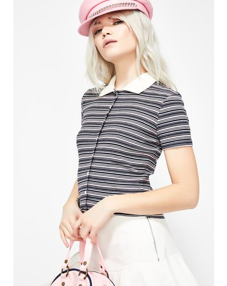 Miss Popular Striped Polo