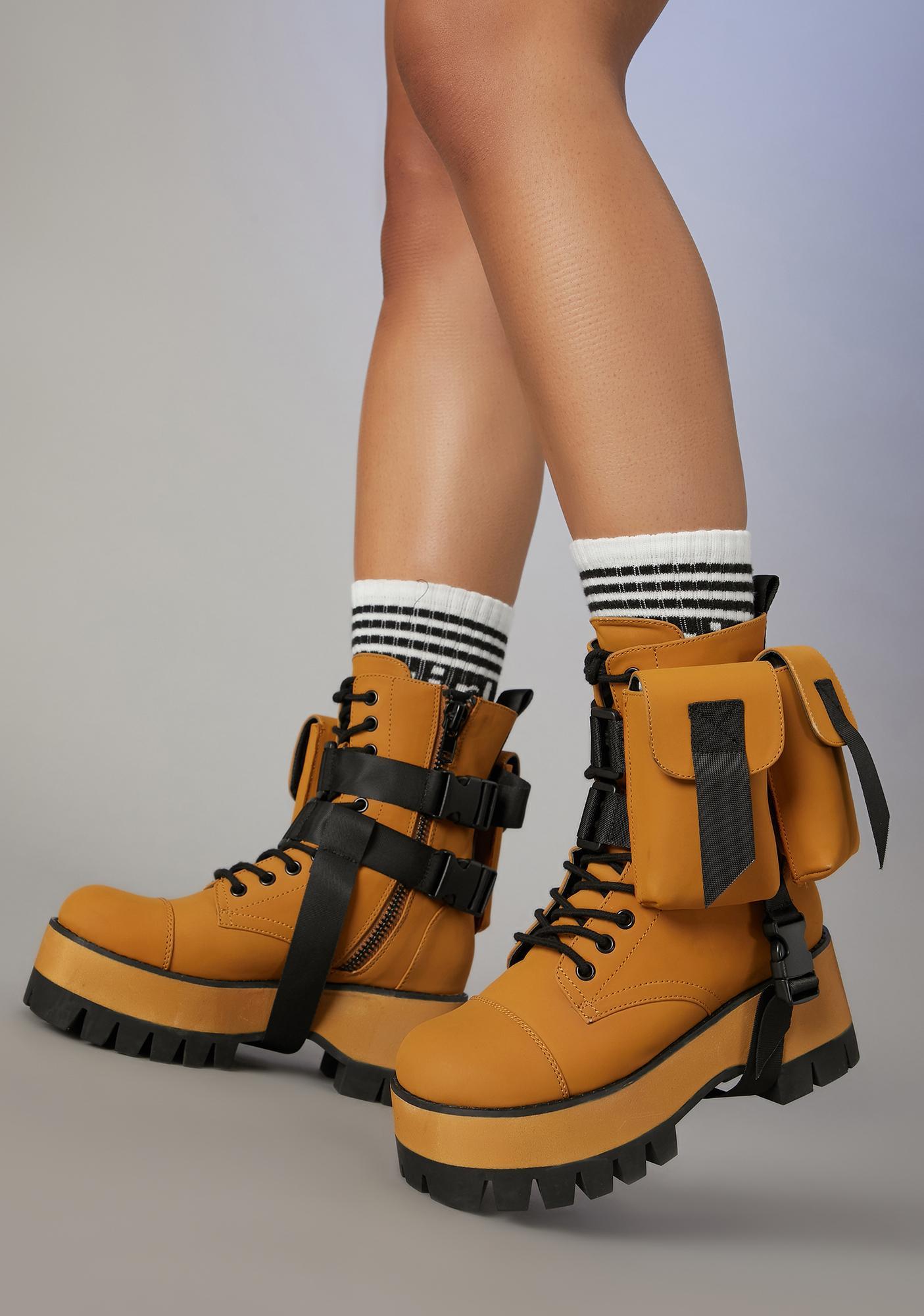 Poster Grl Ur Blocked Pocket Combat Boots