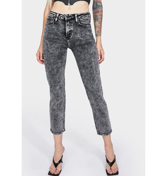 Just Black Denim  Acid Wash Basic Mom Jeans