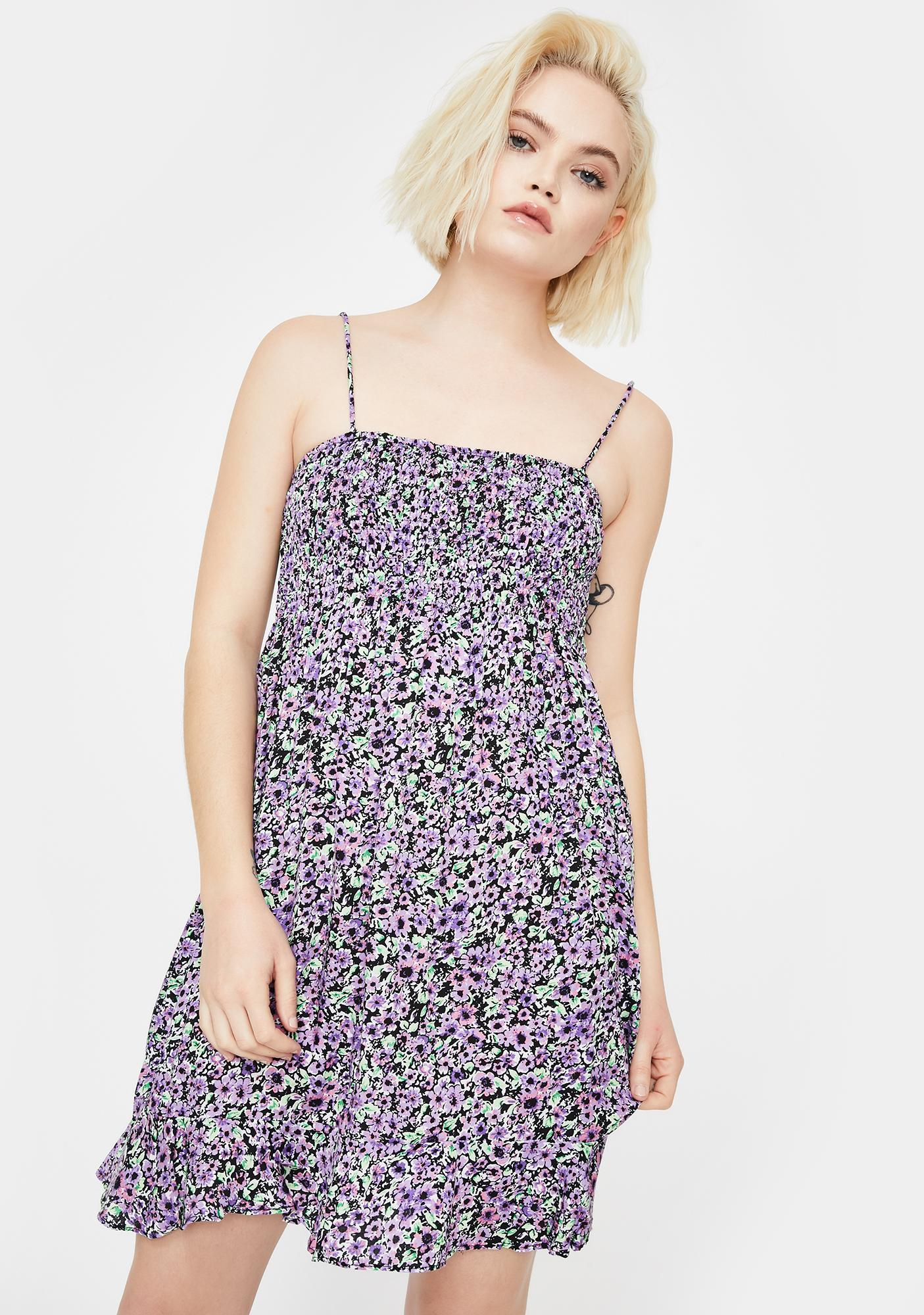 Motel Lilac Floral Seldre Mini Dress