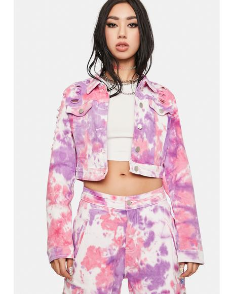 Joyful Noise Tie Dye Denim Jacket