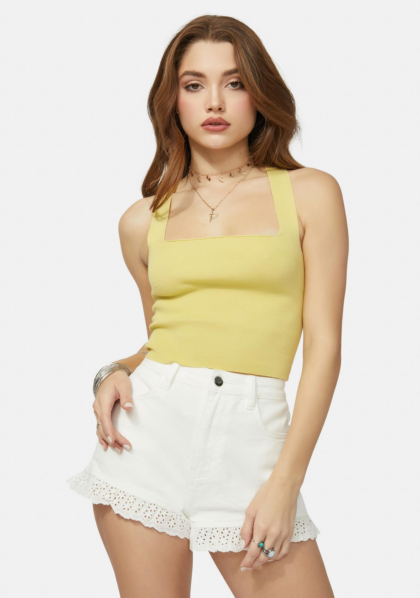 Melon Almost Grown Lace Up Crop Top