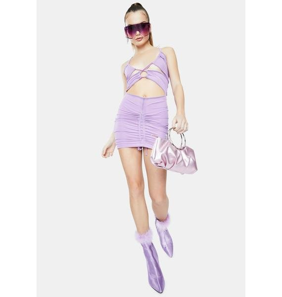 Forbidden Clothing Lilac Please Ruched Mini Dress