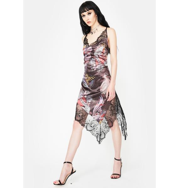 NEW GIRL ORDER Lace Floral Asymmetrical Midi Dress