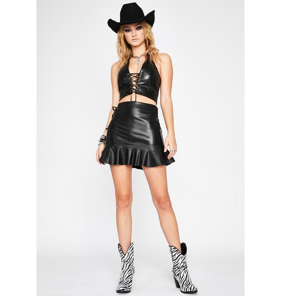 Wicked Top Bish Lace Up Skirt