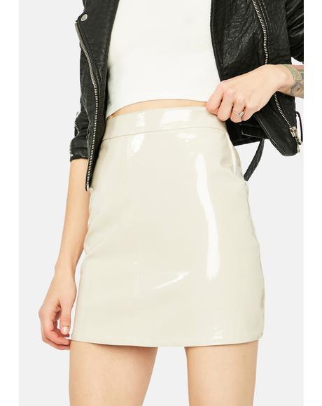 Cream Say Anything Babe Vinyl Mini Skirt