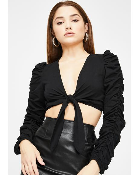 Jet Black Tied Up Crop Top