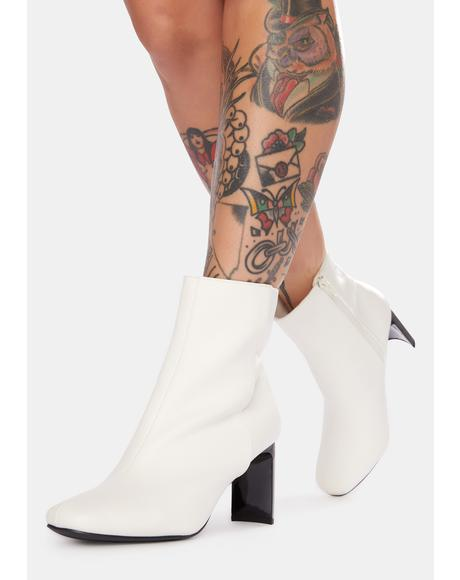 Bliss Plus Ultra Acrylic Heel Ankle Boots