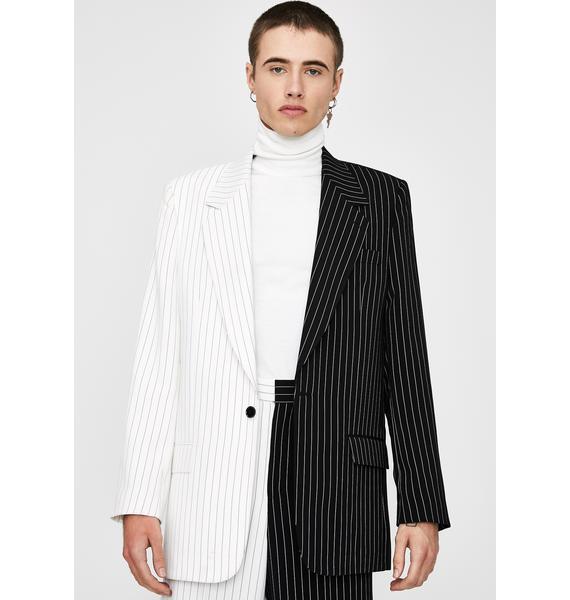 Jaded London Spliced Black & White Pinstripe Blazer