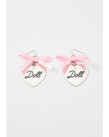Doll Face Heart Earrings