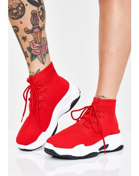 Cherry Sly Walker Sock Sneakers