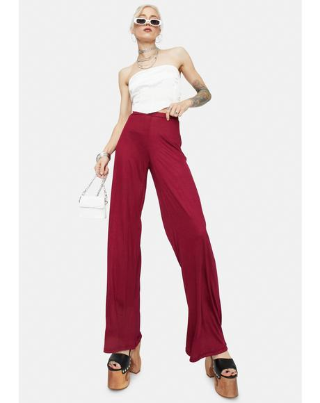 Burgundy Ain't Basic Straight Leg Pants