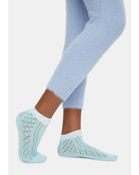 Treat Me Romantically Pointelle Crew Socks