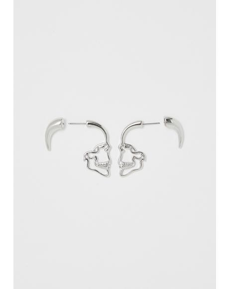 Shadow Oath Skull Outline Earrings