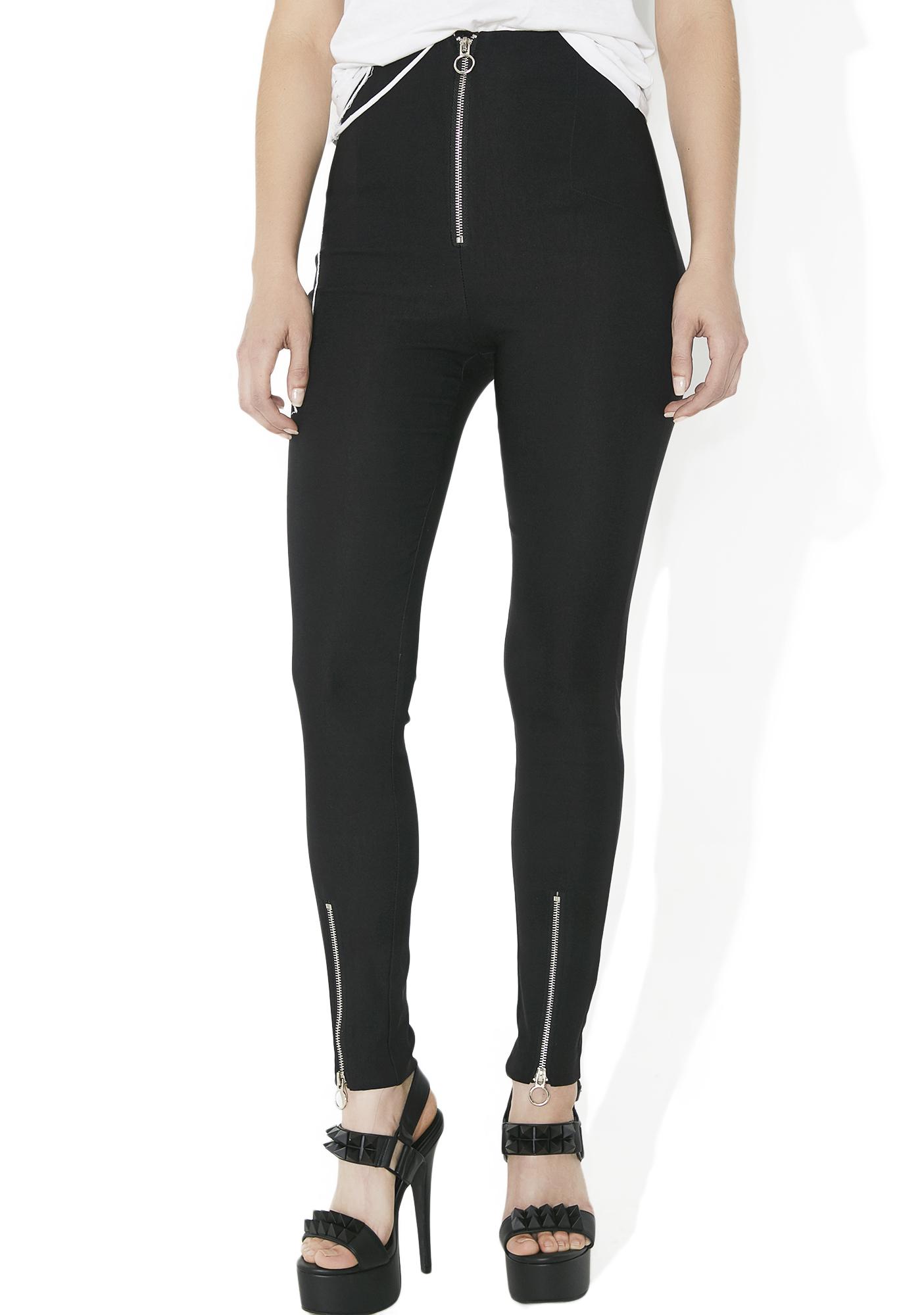 Black Skinny Zipper Pants