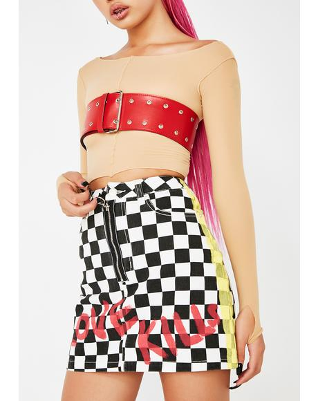Love Kills Checkered Skirt