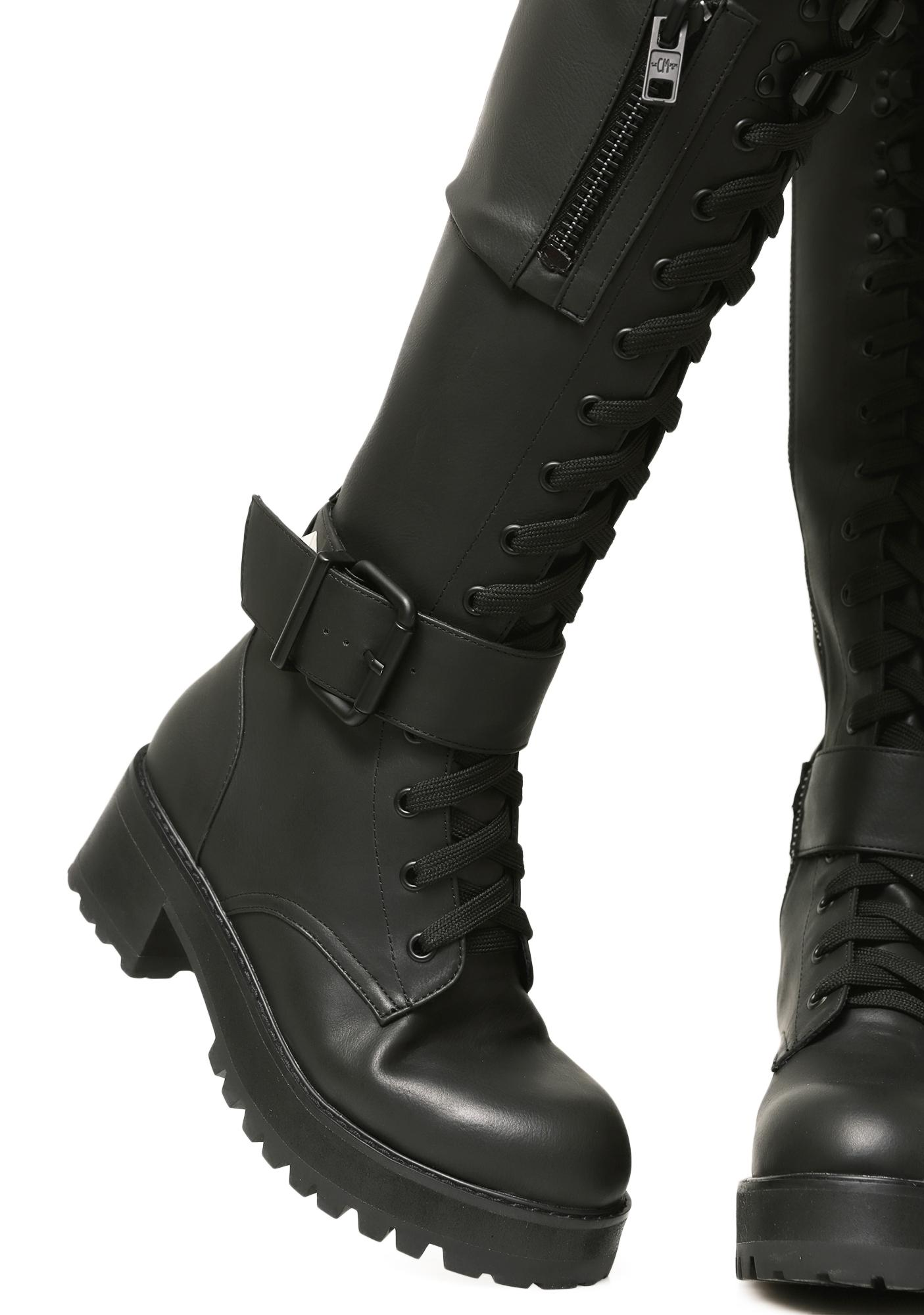 778aed654 Current Mood Pocket Knee High Combat Boots | Dolls Kill