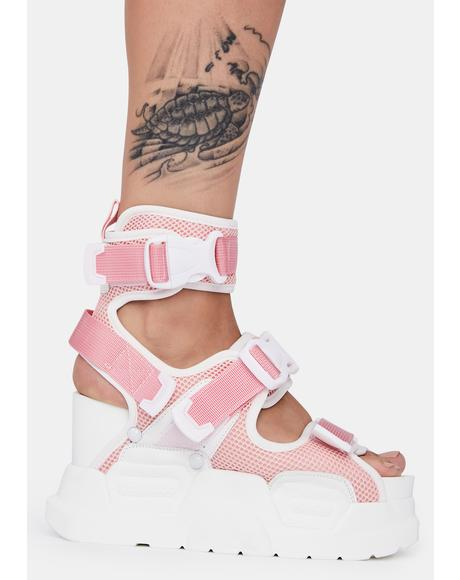 Pink White Mulberry Platform Sandals