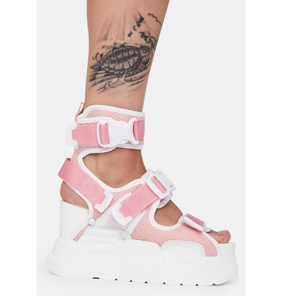 Anthony Wang Pink White Mulberry Platform Sandals