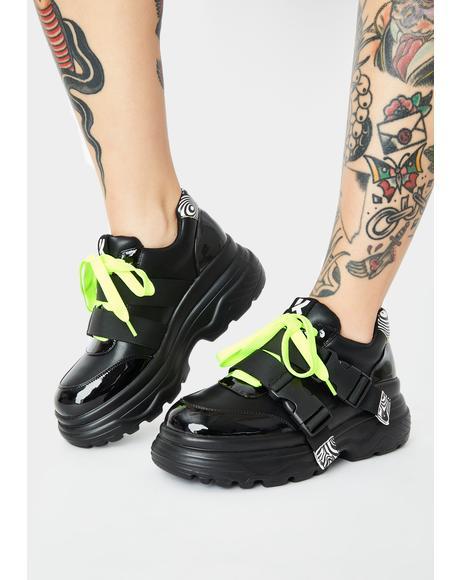 Black Rom Futurist Platform Sneakers