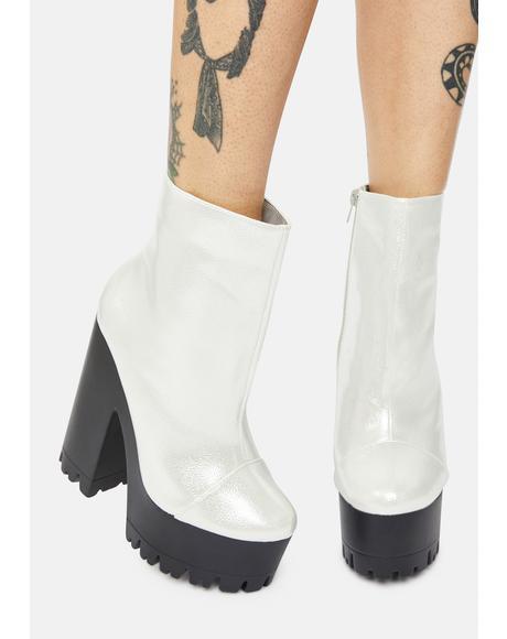 Silver Odiana Platform Ankle Boots
