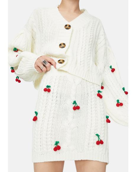 Pure Cherry Sweet Tales Mini Sweater Skirt