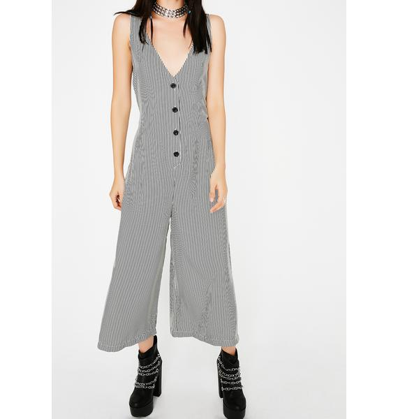 Know It All Striped Jumpsuit