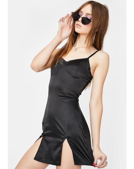 Slim Black Front Slits Mini Dress