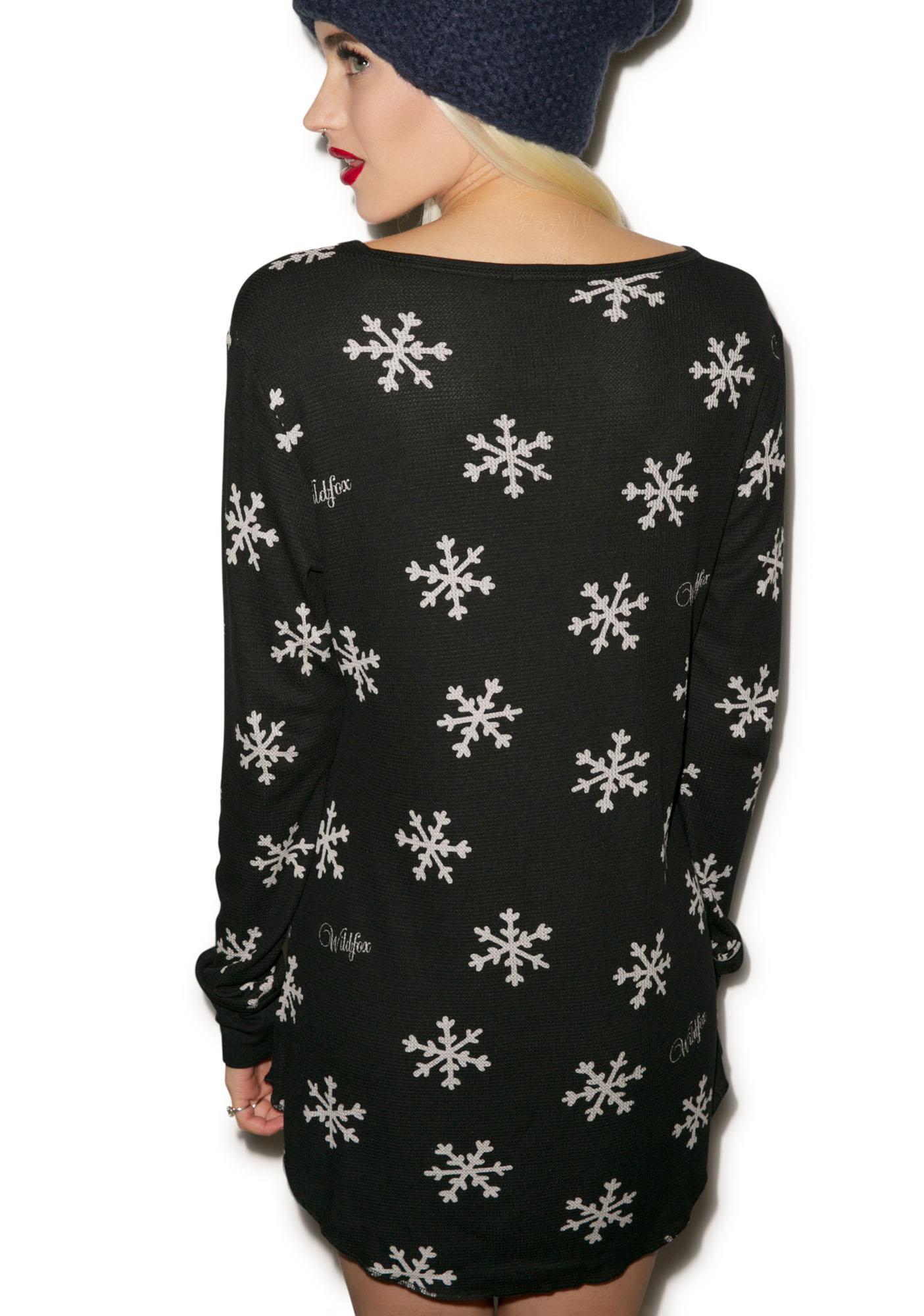 Wildfox Couture Snowflake Snowed In Pajama Sleepshirt