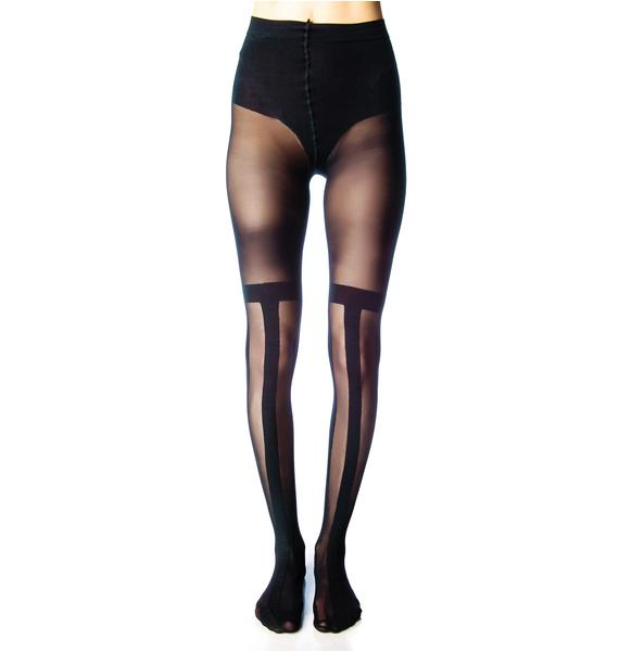 House of Holland x Pretty Polly Black Stripe Tights