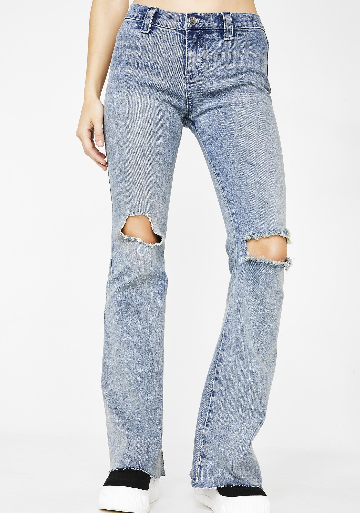 dELiA*s by Dolls Kill Crack A Smile Flared Jeans