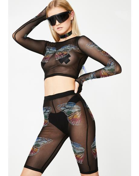 Butterfly Matrix Sheer Biker Shorts