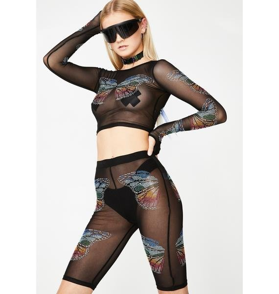 Club Exx Butterfly Matrix Sheer Biker Shorts