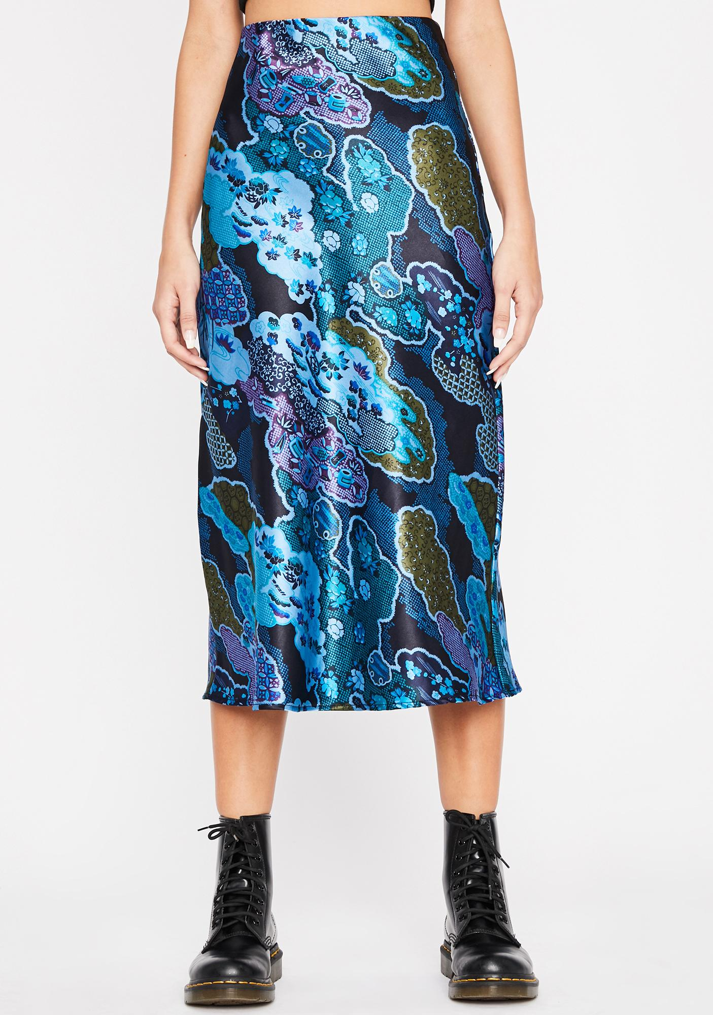 Cobalt Luxury Level Satin Skirt