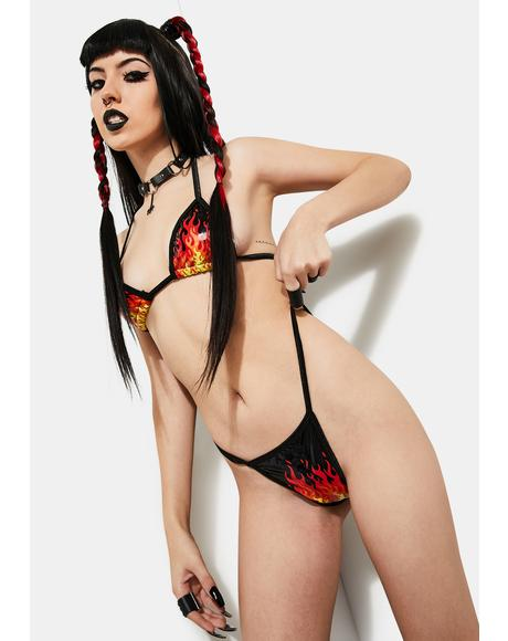Sell My Soul Flame Print Bikini Set