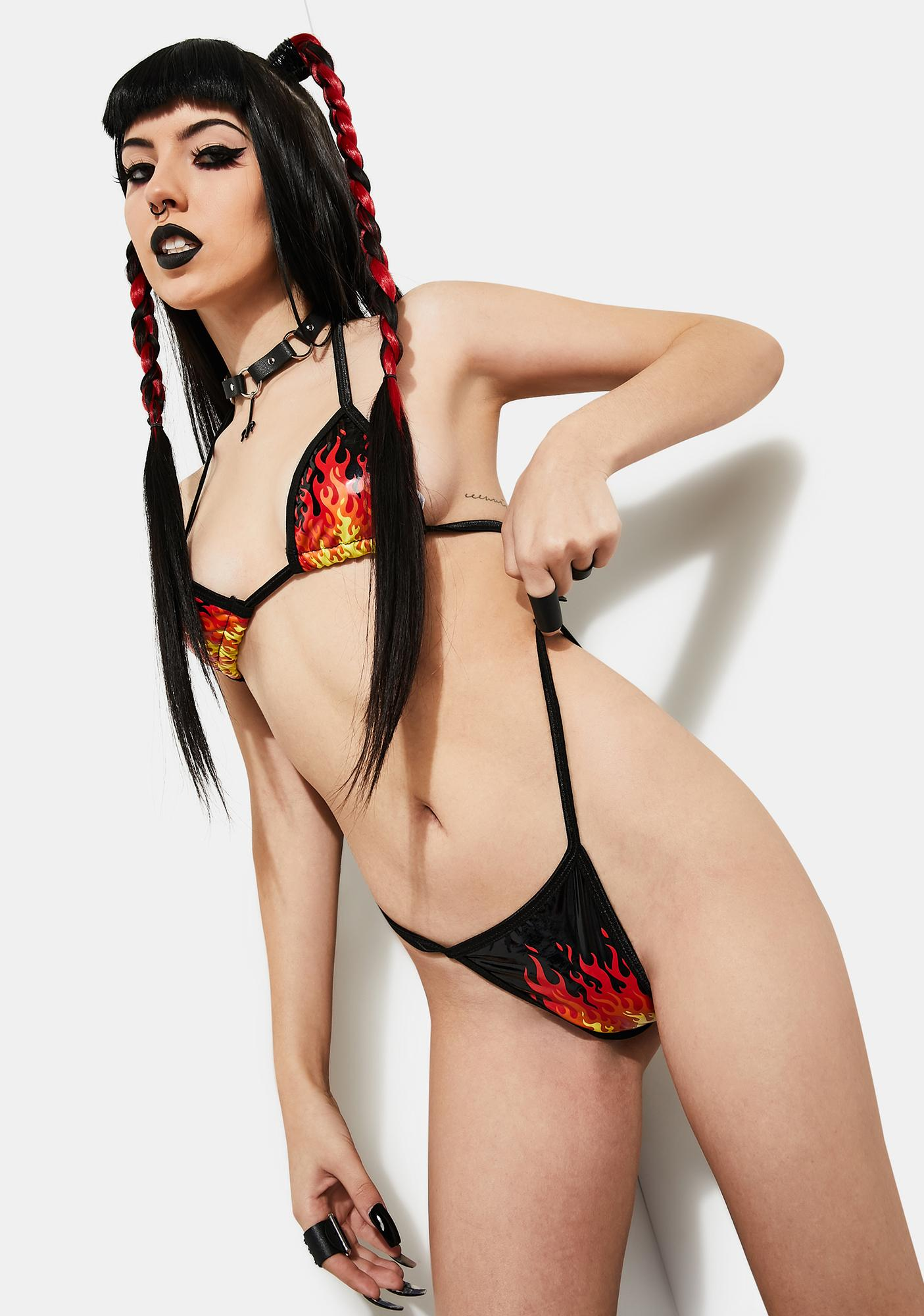 Current Mood Sell My Soul Flame Print Bikini Set