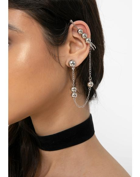 Ole Ball N' Chain Ear Cuff